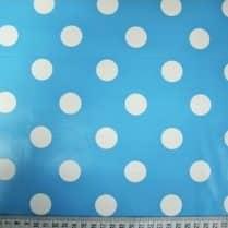 Aqua blue polka dots spots PVC table cloth sewing bee fabrics change