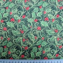Christmas holly berries cotton fabric