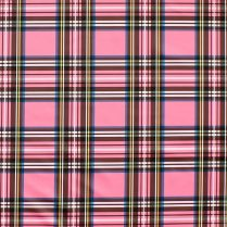 Pink plaid tartan polyurethane laminate PUL fabric