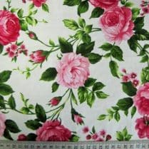 Roses pink flower cotton fabric