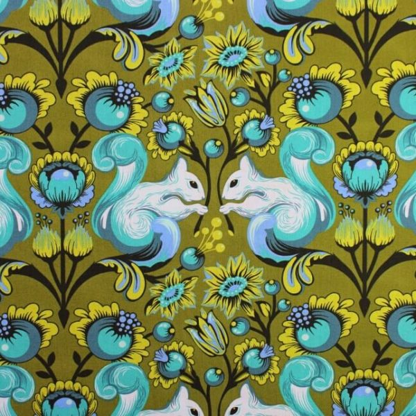 Squirrels - Designed by Tula Pink for Free Spirit Fabrics. 100% Cotton - Quilting weight.