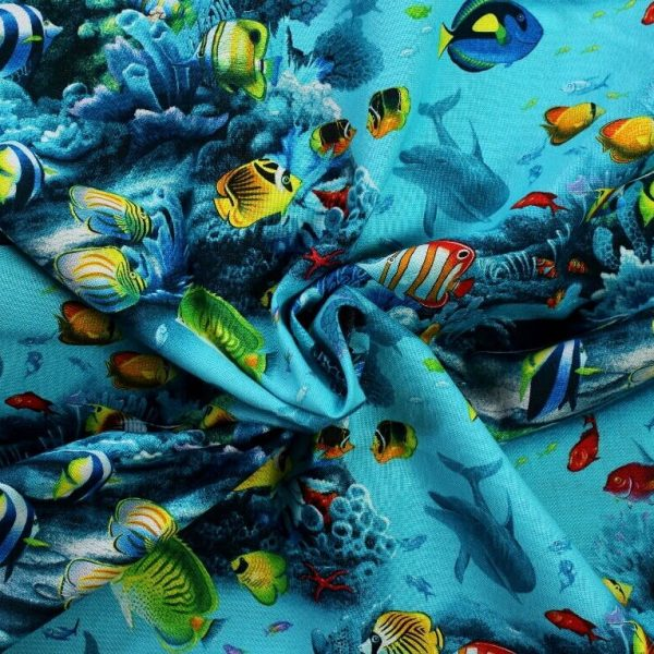 Elizabeth's studio cotton fabric - paradise found - fish and dolphins